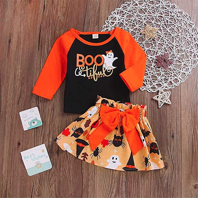 059bf18a0764 Rosennie Baby Girls Clothing Set,Halloween 2PCS Toddler Baby Girl Patchwork  Tops Pumpkin Cartoon Skirt Halloween Bowknot Sets: Amazon.co.uk: Clothing