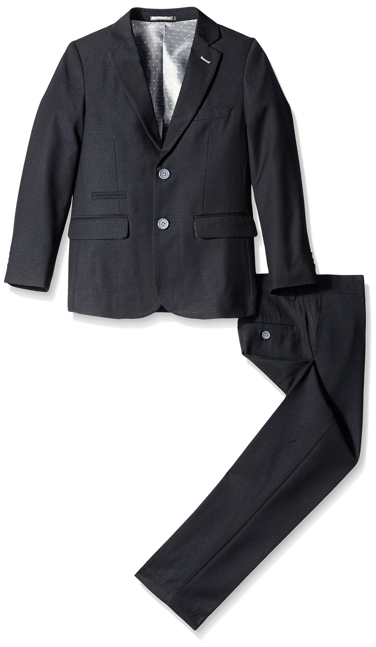Isaac Mizrahi Big Boys' Textured 2 Piece Suit, Black, 14