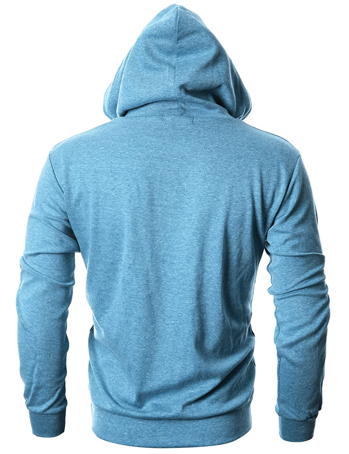 OHOO Mens Slim Fit Long Sleeve Lightweight Echo Knit Hoodie with Kanga Pocket