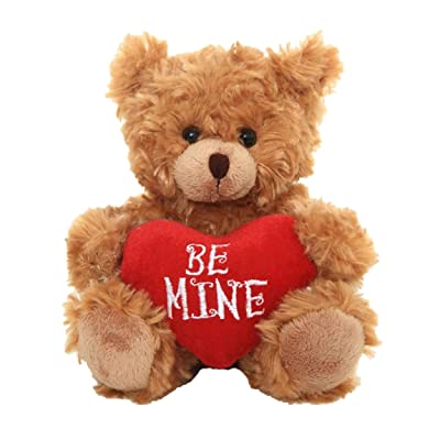 Plushland Stuffed Mocha Heart Bear – Be Mine- Plush Bear Toy for Kids & Adults - Embroidered Heart Pillow - Brown-6 inches: Home & Kitchen