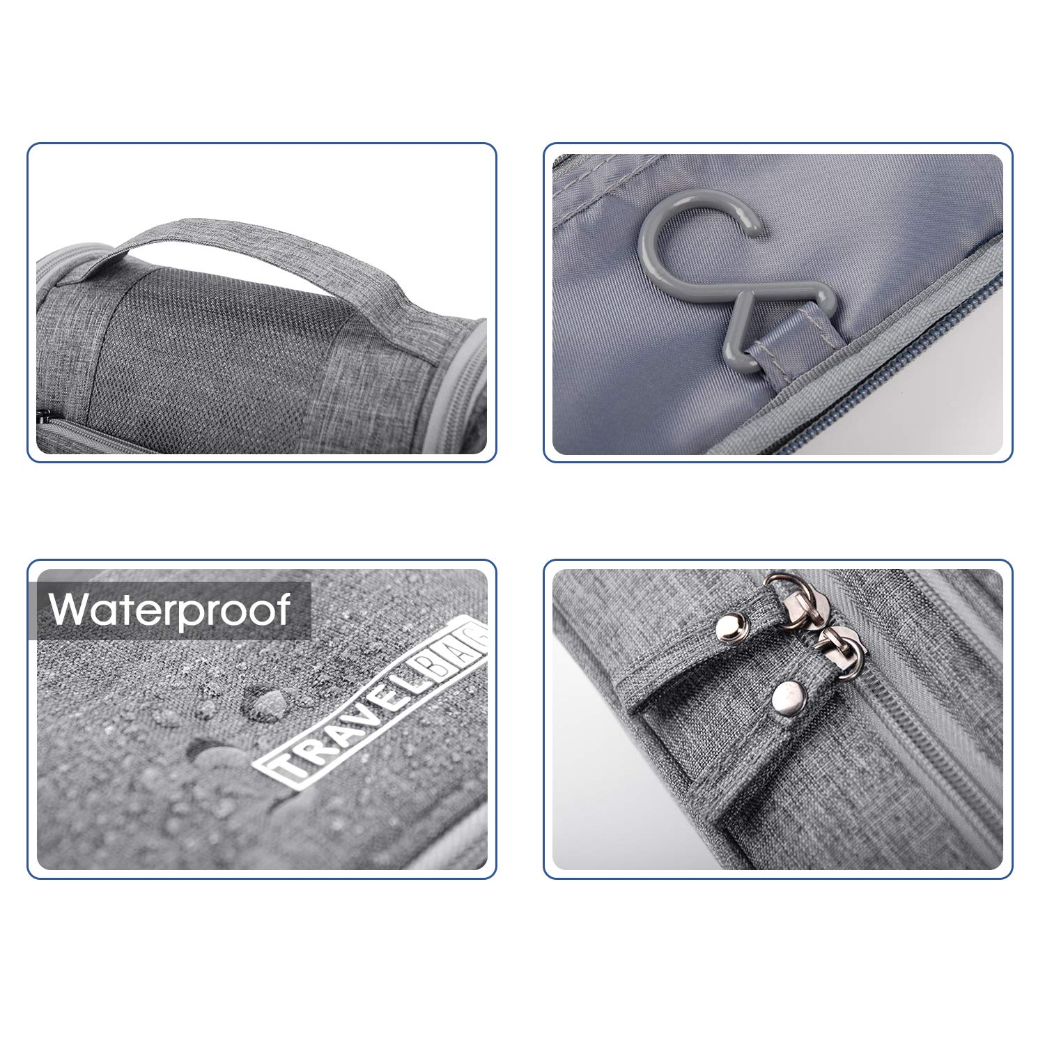 Narwey Travel Toiletry Bag Hanging Cosmetic Makeup Organizer Shaving Kit Waterproof for Men and Women by Narwey (Image #5)