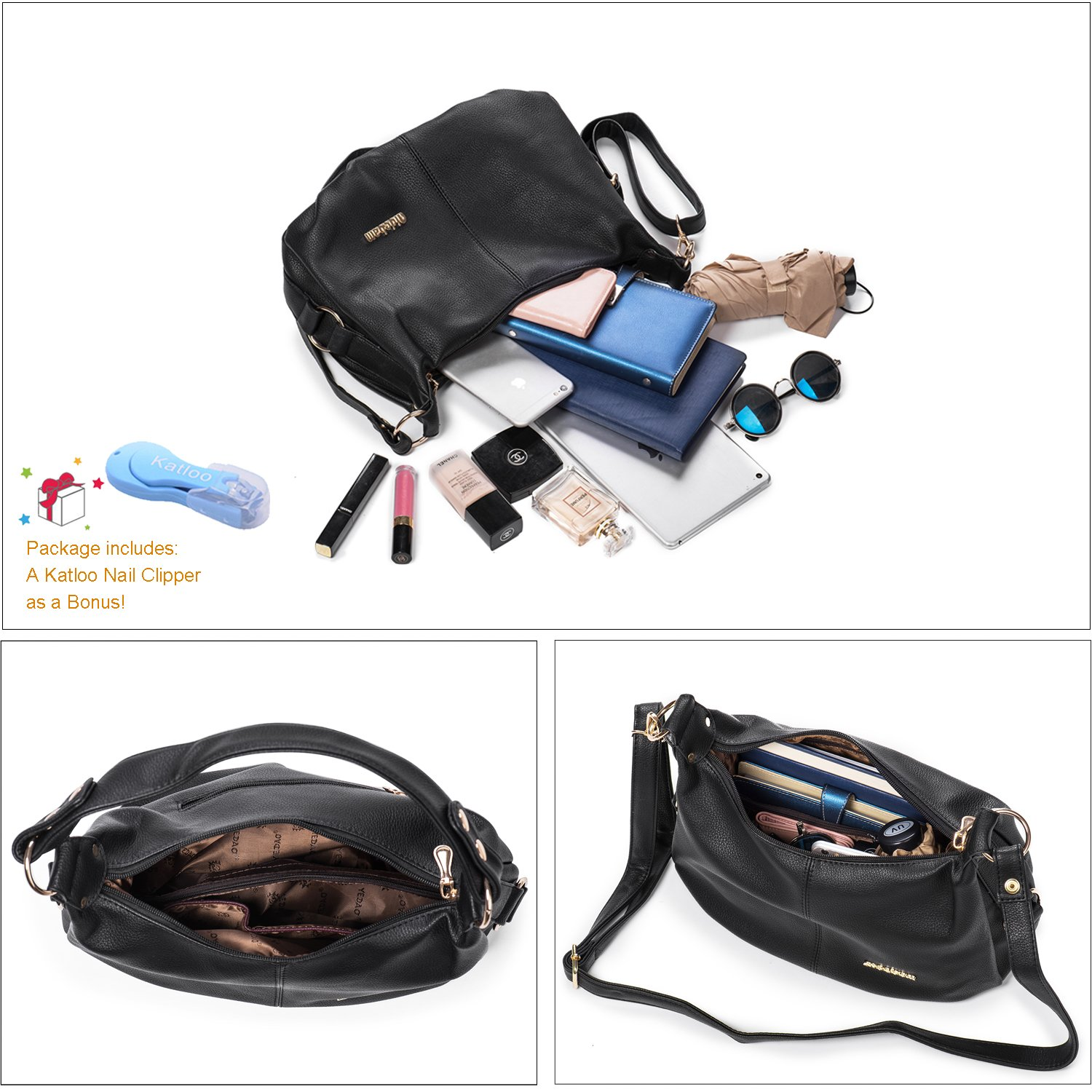 Shoulder Handbag for Women PU Leather Hobo Crossbody Purse Top Handle Bag Black + Katloo Nail Clipper by Katloo (Image #3)