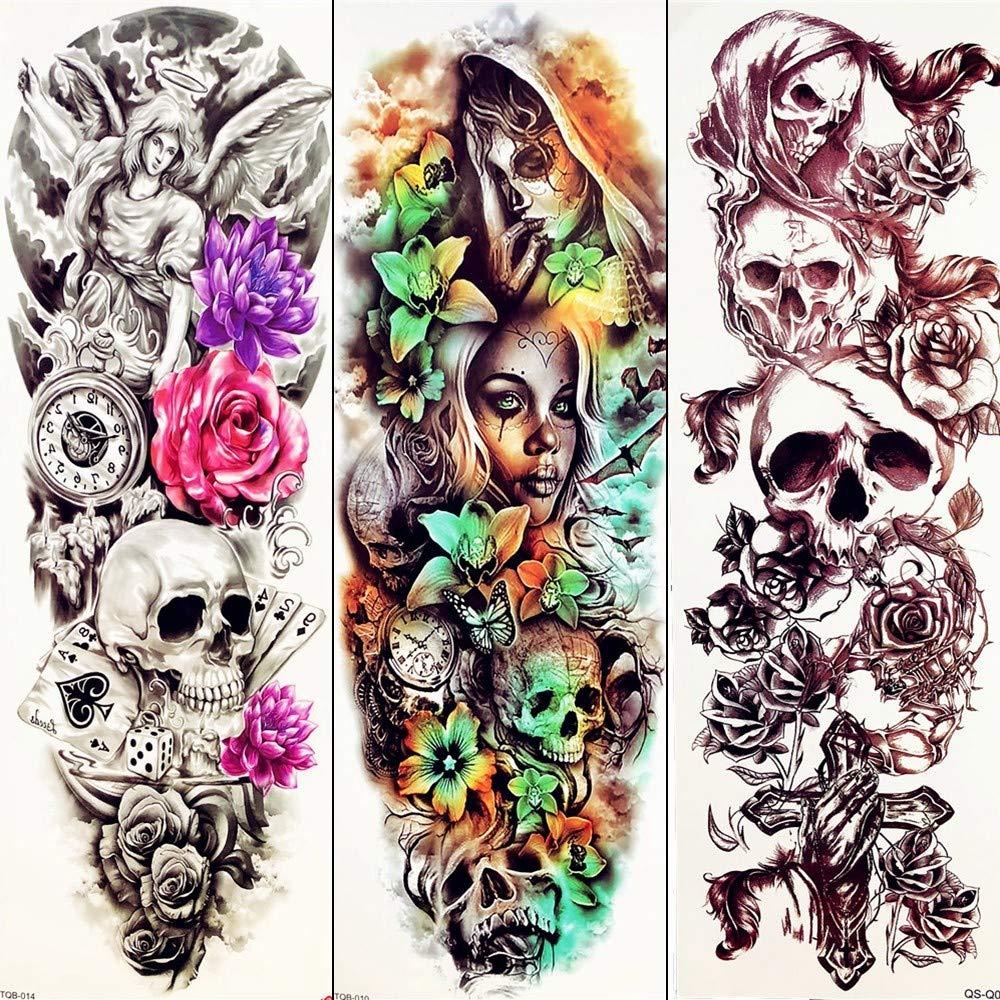 MRKAL Demonio 3D Cráneo Sexy Etiqueta De Tatuaje Temporal Largo ...