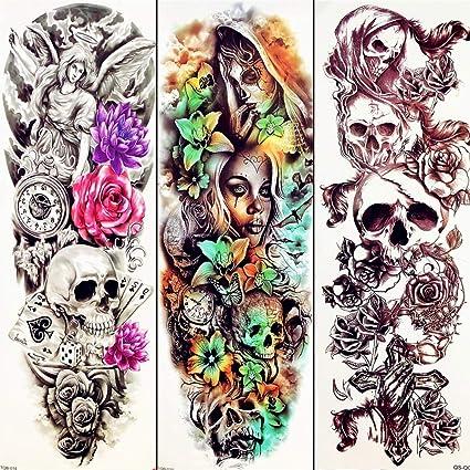 MRKAL Tatuaje Falso Tatuaje Demonio 3D Cráneo Sexy Etiqueta De ...