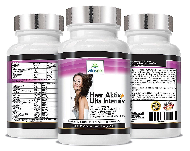 Pelo activo + Ultra Intensivo | 60 Cápsulas Botella pelo de vitaminas | Vital Fórmula |opc + Biotina + selenio + lecitina + Zinc y Vitamina C, E, B1, B2, ...