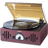 ION Audio Trio LP Impianto Stereo, Giradischi Vintage con Trasmissione a Cinghia, Altoparlanti Integrati, Radio, Finitura in Legno