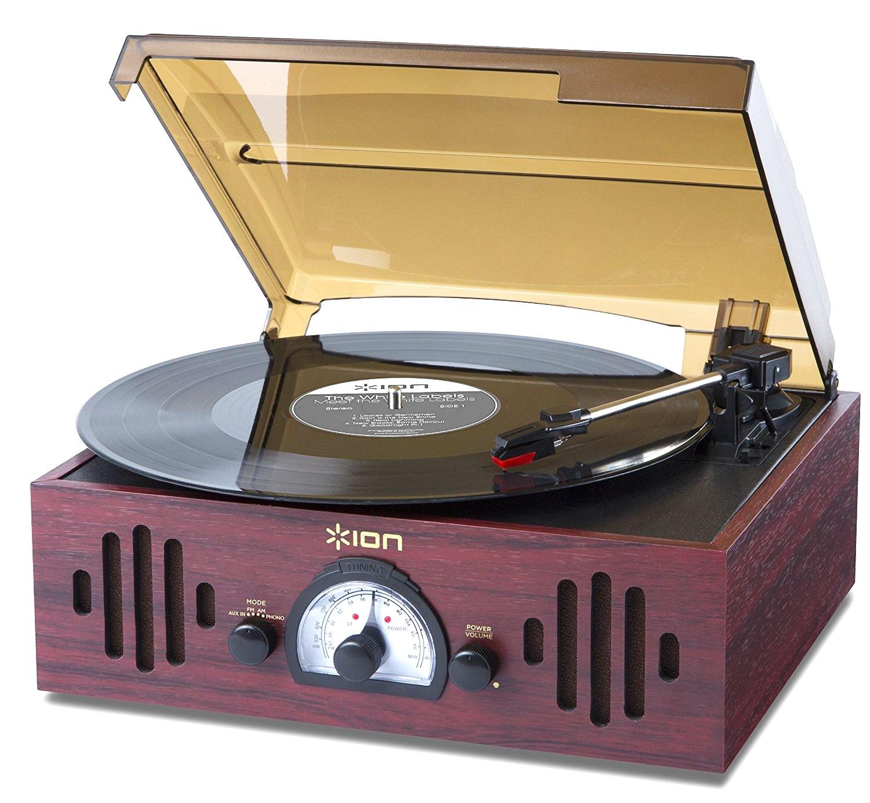ION Audio Trio LP Tocadiscos de velocidades con radio y entrada auxiliar