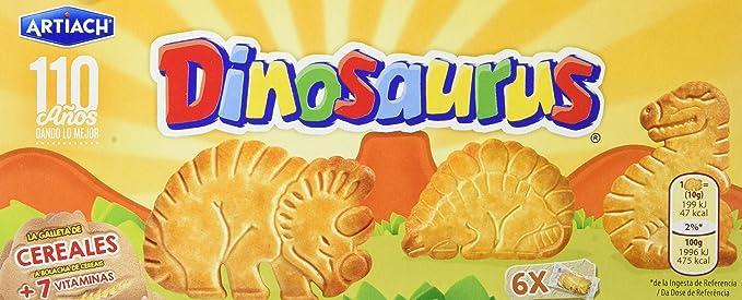 Artiach - Galletas Dinosaurus - 185 g - , Pack de 6