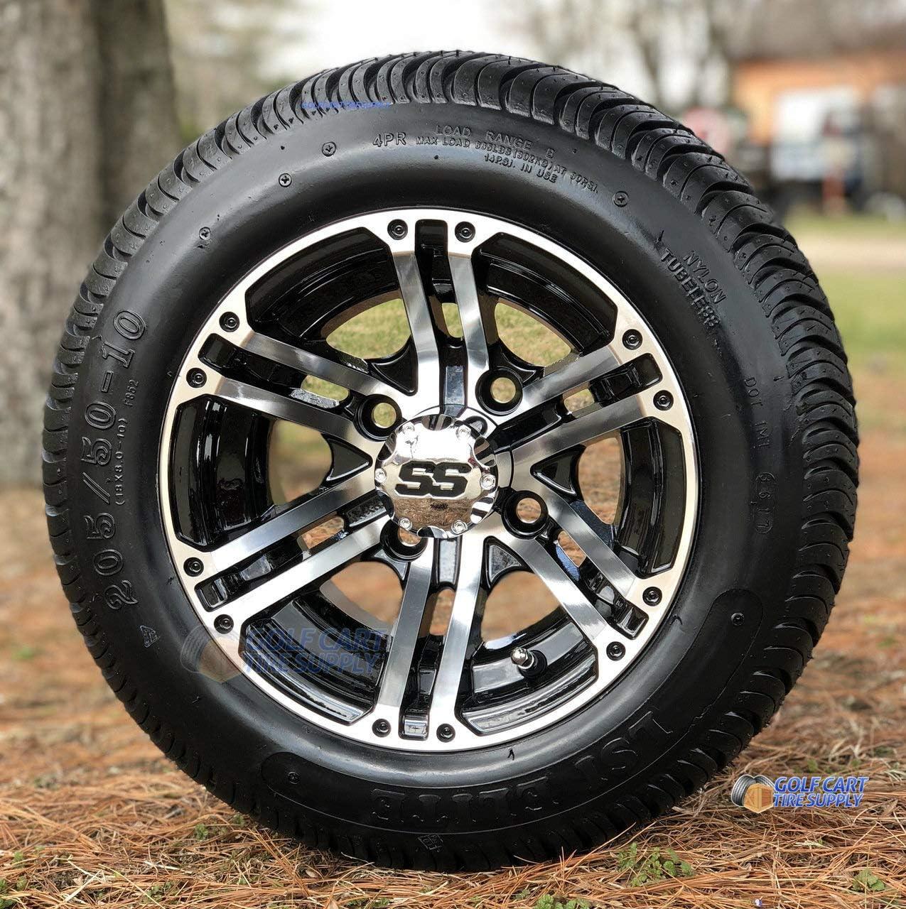 """10"""" Terminator Machined/Black Golf Cart Wheels und 205/50-10 niedrig Profile Golf Cart Tires Combo - Satz von 4"""