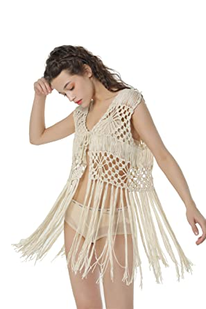 5d043a1929798 Acemi Sleeveless Crochet Long Tassels Fringe Vest 70s Cover up Hippie  Clothes for Women Free Size at Amazon Women s Clothing store