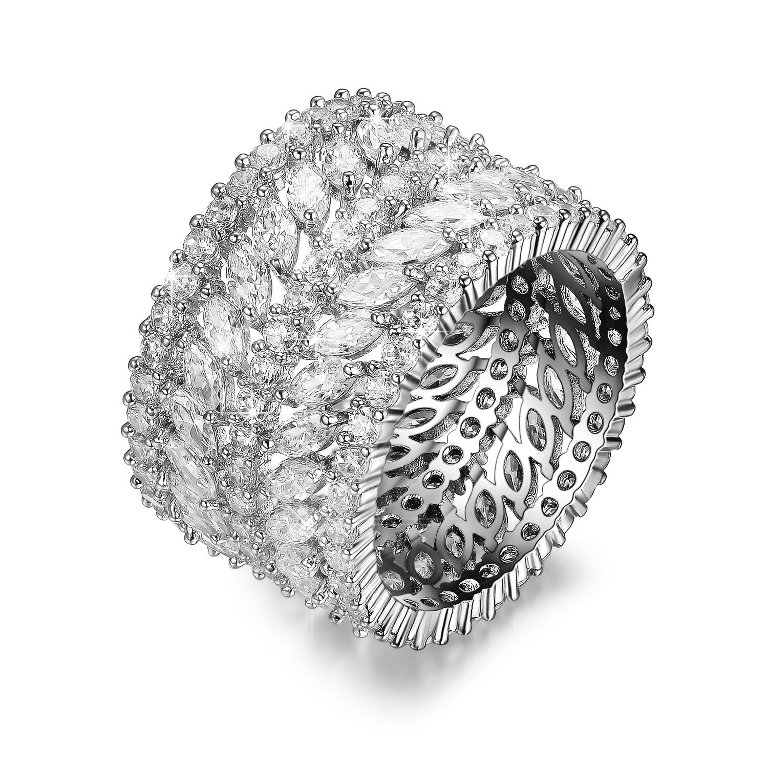 DIFINES Redbarry Vintage CZ Diamond Wide Band Eternity Statement Rings 18k White Gold Plated, Size 8