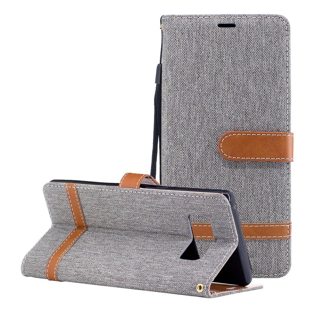 Galaxy Note 8フリップケース、Galaxy Note 8レザー財布型カバーケース、ピンクリボン運動デニムテクスチャPUレザースマートフォンフリップウォレットフォリオ電話ケース保護シェルケースカバーfor Samsung Note 8 グレー KUN2017091102 B075JHNCLS  グレー