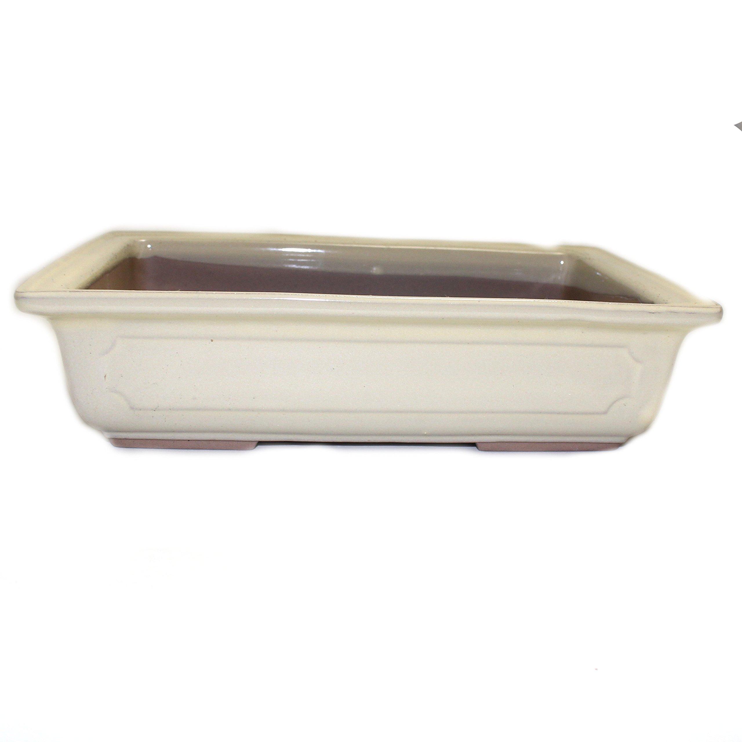 Bonsai Pot Ceramic Rectangle Window Shaped Decorations (9'', Cream-Yu)