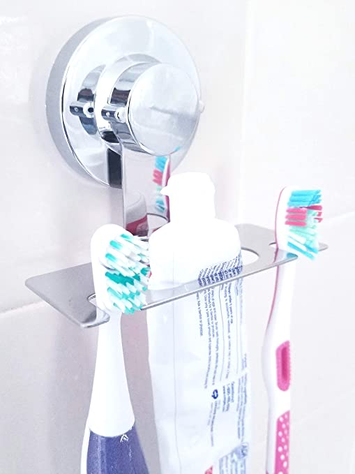 Amazon Com Toothbrush Holder Suction Cup Mirror Tile Toothbrush Holder Wall Mounted Toothbrush Holder For Bathroom Does Not Fall Bathroom Organizer Home Kitchen