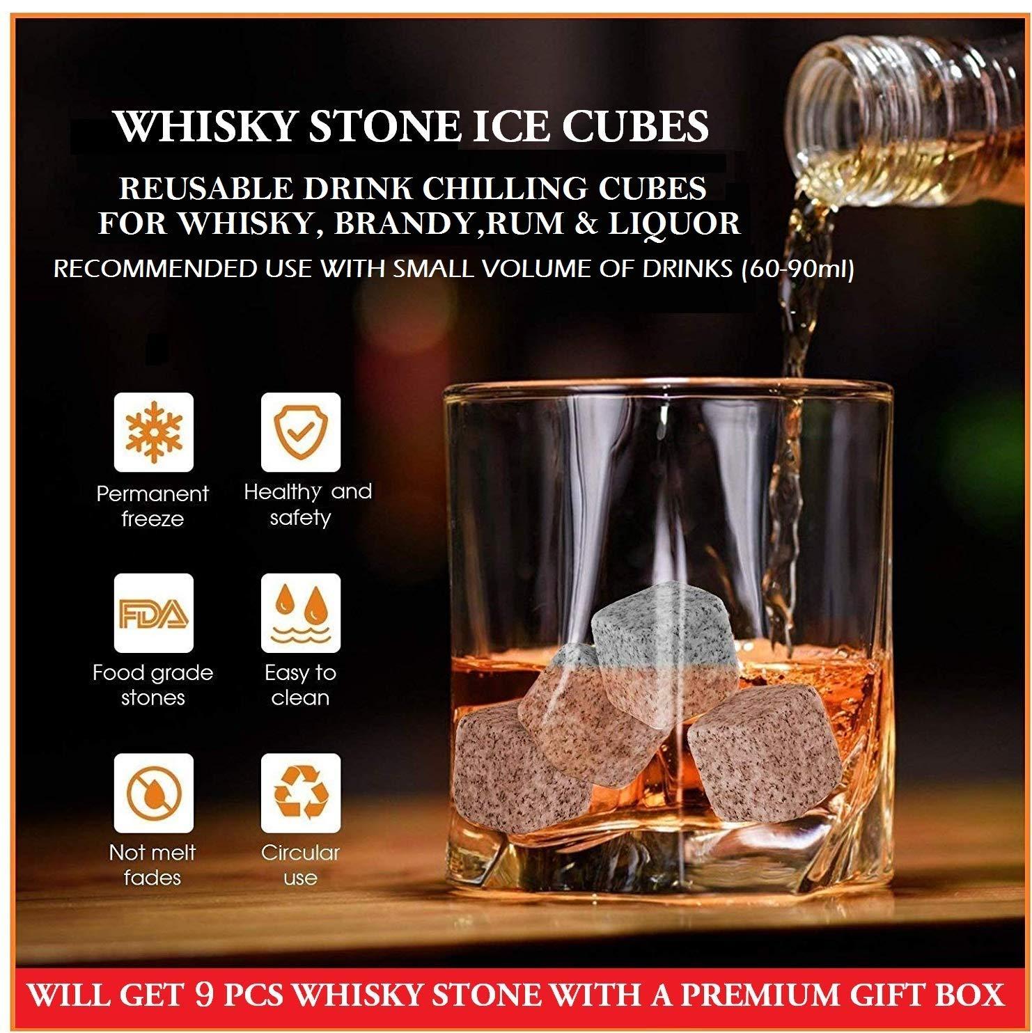 Whiskey Stones Ice Cube Rocks Set of 9 Reusable Whisky Wine /& Beverage Gift Set