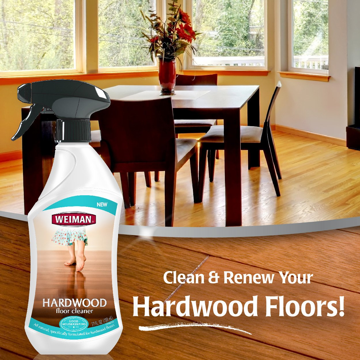 amazoncom weiman hardwood floor cleaner u2013 surface safe no harsh scent safe for use around kids and pets residue free u2013 27 oz trigger home u0026 kitchen