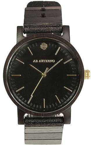 "AB AETERNO ""Eclipse Mujer"" Madera Ebano Negro Swiss Quartz Hipoalergénico Reloj"
