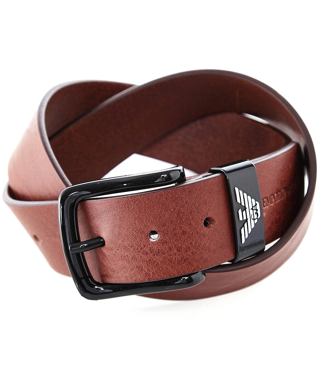 73f9f0a511 Emporio Armani Leather Logo Mens Belt Brown