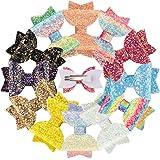 XIMA 12pcs Glitter Sparkly Bows Clips for Girls Hair Pin Rainbow Hair Bows for Hair Accessoires (12pcs-Glitter Rainbow bow cl