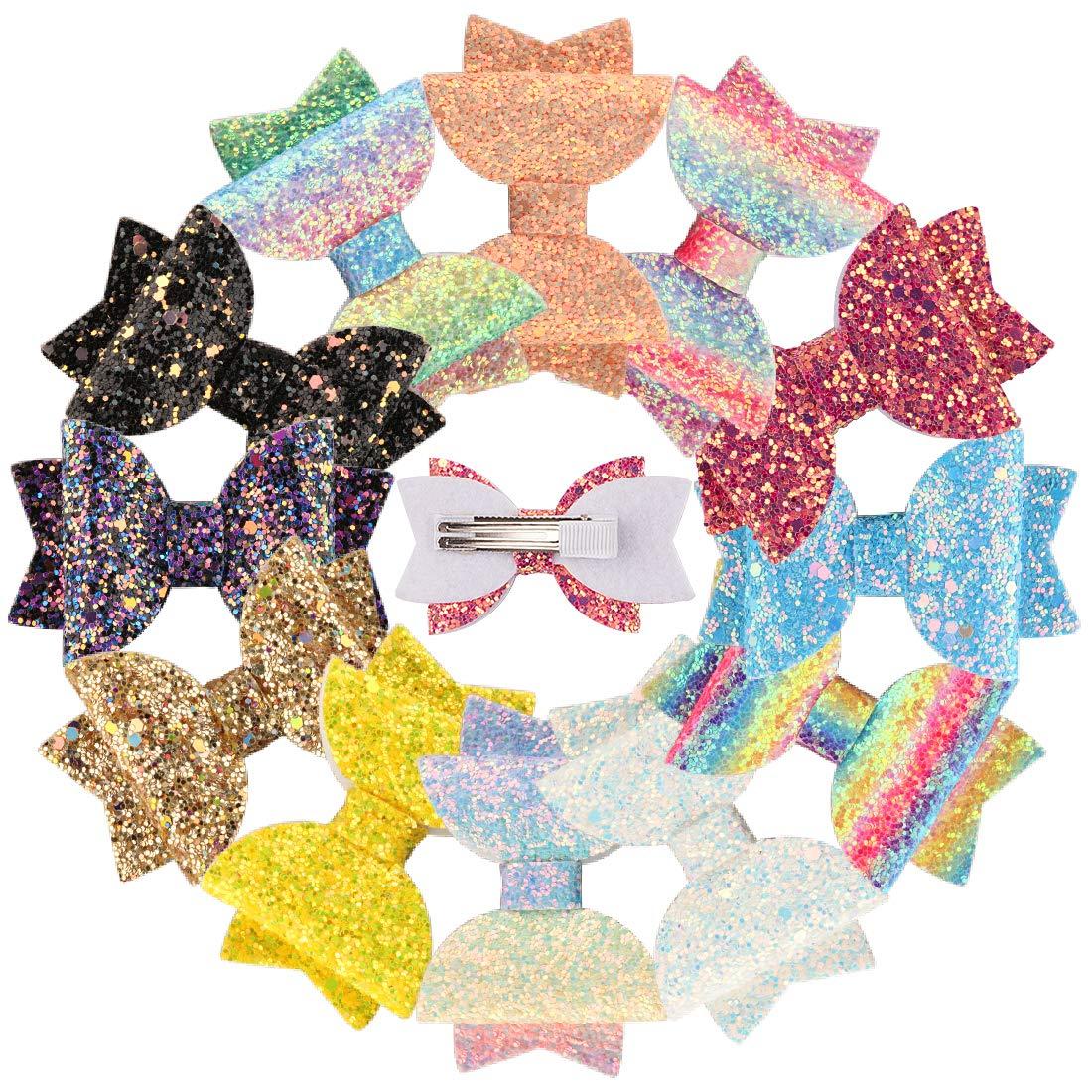 XIMA 12pcs Glitter Sparkly Bows Clips for Girls Hair Pin Rainbow Hair Bows for Hair Accessoires (12pcs-Glitter Rainbow bow clip)