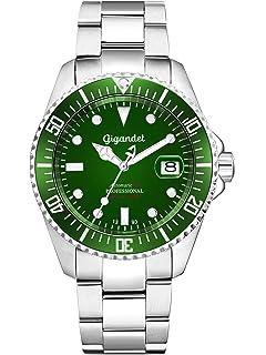 ab834f28a9c01b Gigandet Sea Ground Vintage Montre Plongée Homme Automatique Analogique  Vert Argent G2-008