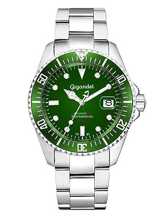 Gigandet Reloj de Hombre Automático Sea Ground Reloj de Buceo Analógico Correa de Acero Verde Plata G2-008: Gigandet: Amazon.es: Relojes