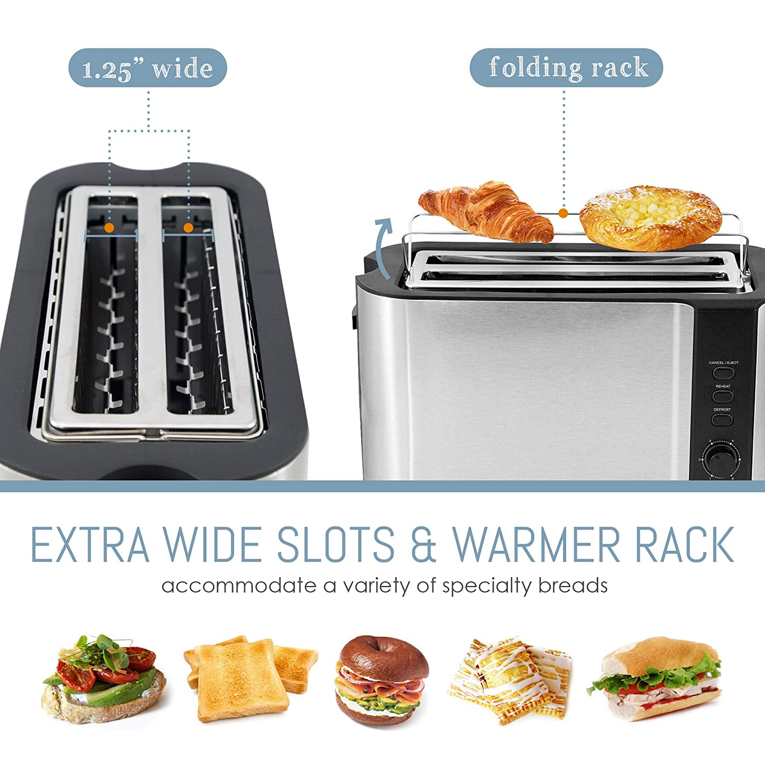 Specialty Breads Reheat Cancel /& Defrost Settings Silver /& Black 4 Slice 1300 Watts Bagels Maxi-Matic ECT-3100 Stainless Steel Long Slot Toaster