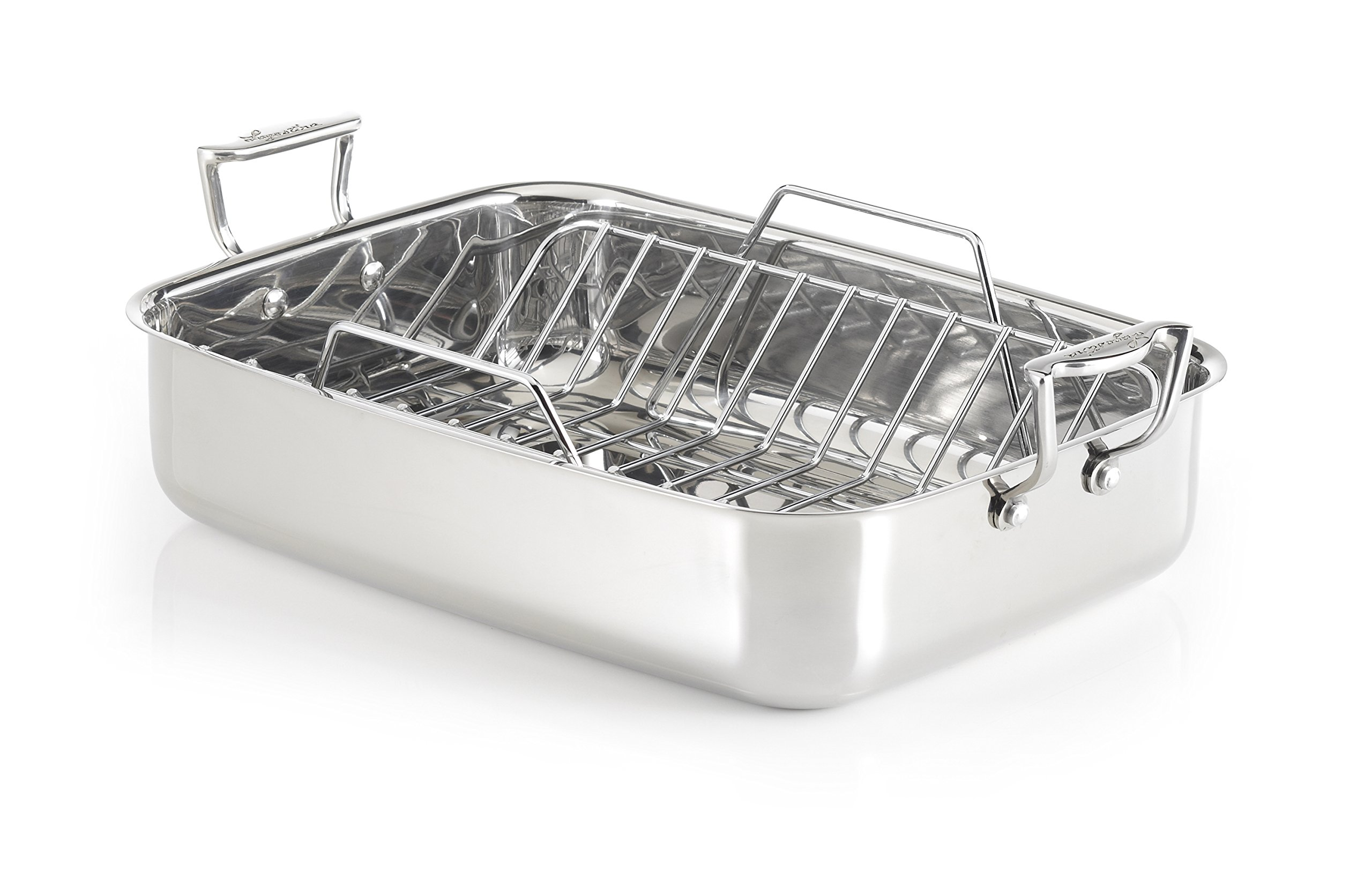 Lagostina T9910164 Stainless Steel 16-Inch Rectangular Roasting Pan Chicken Roaster with Rack Cookware, Silver