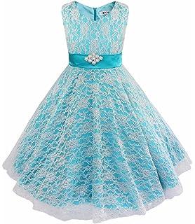 YiZYiF Lace Tulle Flower Girl Dresses Kid Sleeveless Wedding Formal Bridesmaid Party Princess Dress