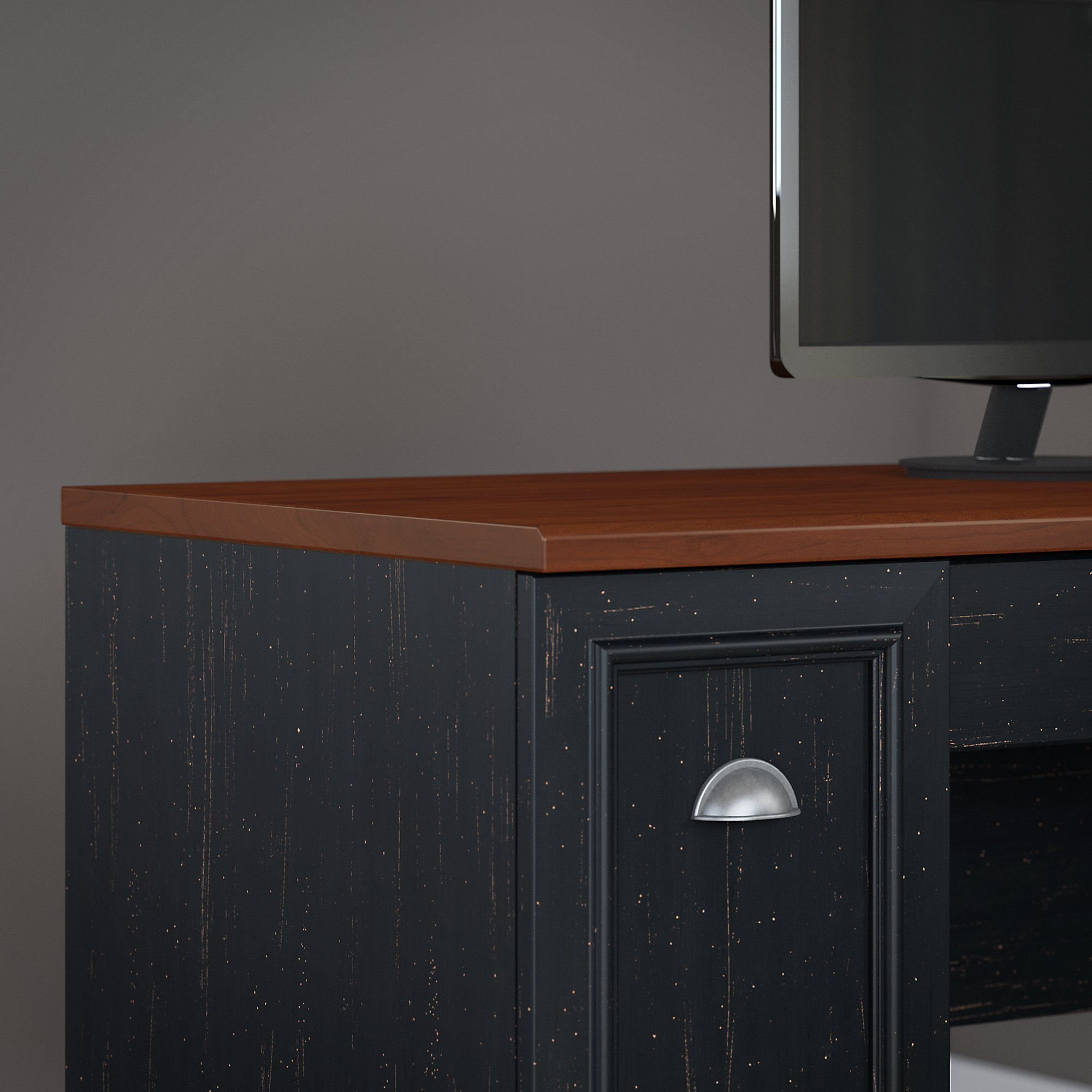 Bush Furniture Fairview 60W L Shaped Desk with Hutch, Storage Cabinets and 5 Shelf Bookcase in Antique Black and Hansen Cherry by Bush Furniture (Image #4)