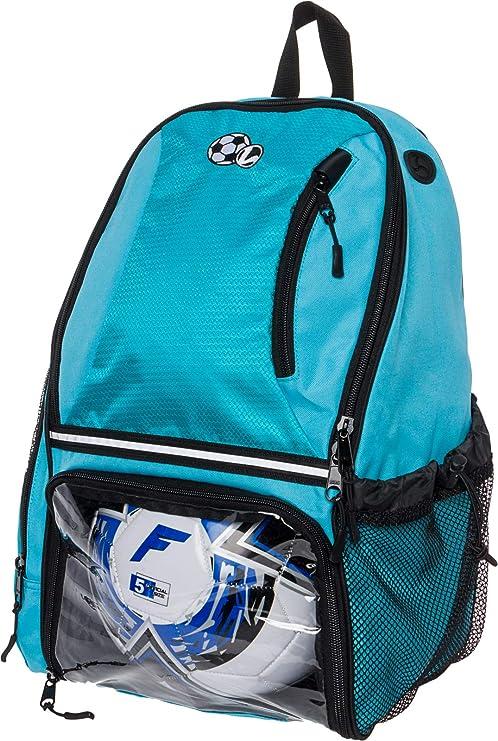 83e9ee1b28d2 LISH Soccer Backpack - Large School Sports Bag w Ball Compartment (Aqua)