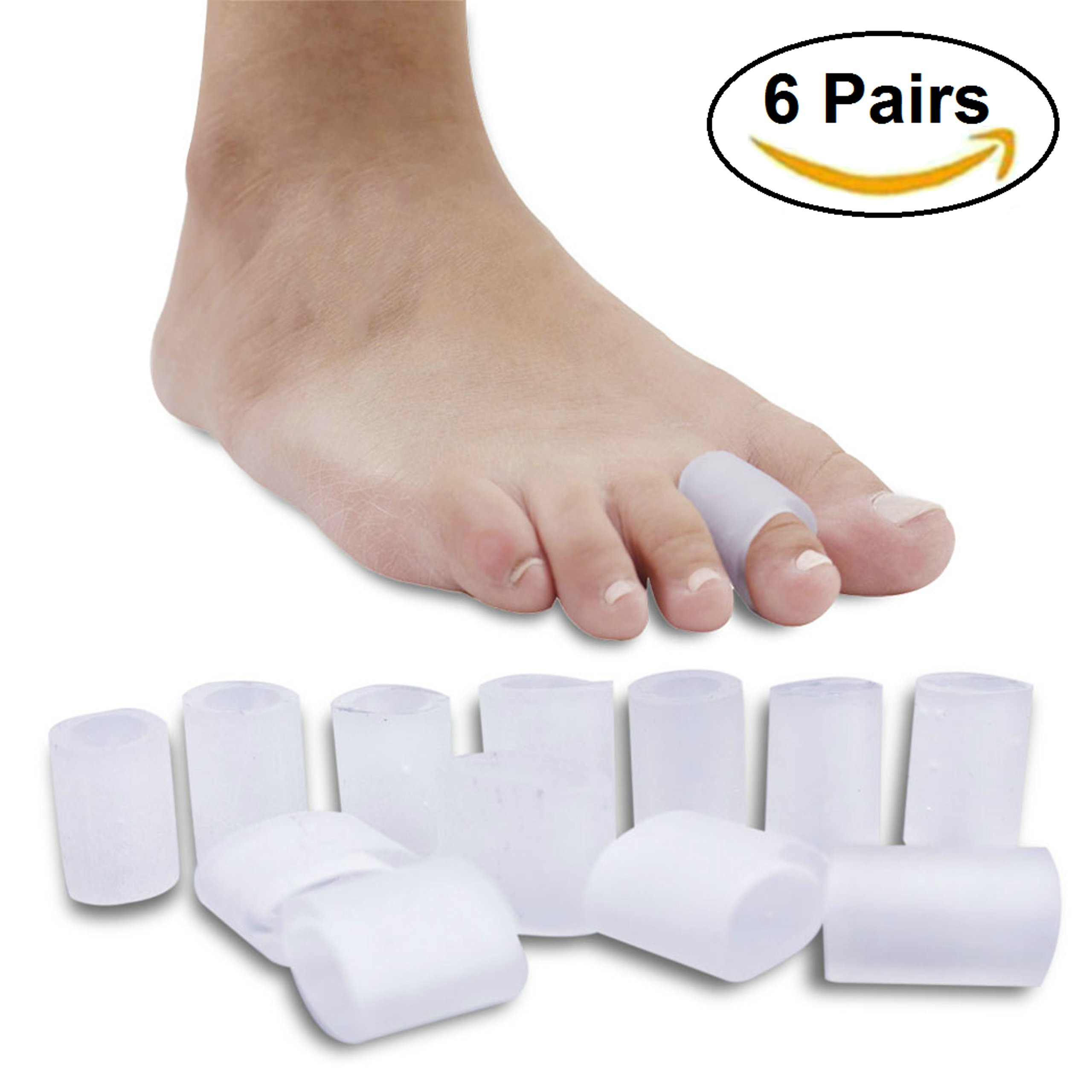 Ortho Pauher Gel Toe Sleeves - Toe Covers for Corns Callus and Blisters Treatment Kit S/M/L (6 Pairs)