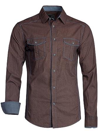 Trisens Herren Hemd Shirt Langarm Baumwolle Kontrast Knopfleiste Polo Party   Amazon.de  Bekleidung b970ee9b00