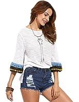 Milumia Women's 3/4 Sleeve Side Split T-shirt Blouse Tunic Tops