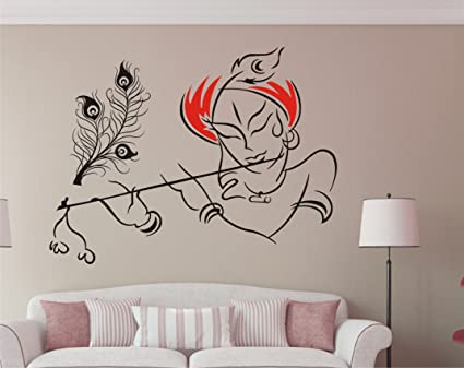 8c6d2f2664 Buy Wall Guru Krishna With Flute Wall Sticker Size (59X78)Cm Lord Krishna  Wall Sticker Online at Low Prices in India - Amazon.in