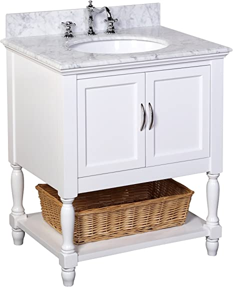 Amazon Com Beverly 30 Inch Bathroom Vanity Carrara White Includes White Cabinet With Authentic Italian Carrara Marble Countertop And White Ceramic Sink Home Improvement