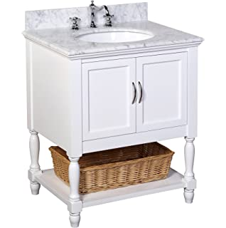 Kitchen Bath Collection KBC00530WTCARR Beverly Bathroom Vanity With Marble  Countertop, Cabinet With Soft Close Function