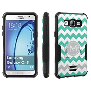 Galaxy [On5] Tough Case [Skinguardz] [Black/Black] ShockProof Armor [Kick Stand] - [Mint Chevron M Monogram] for Samsung Galaxy [On5]