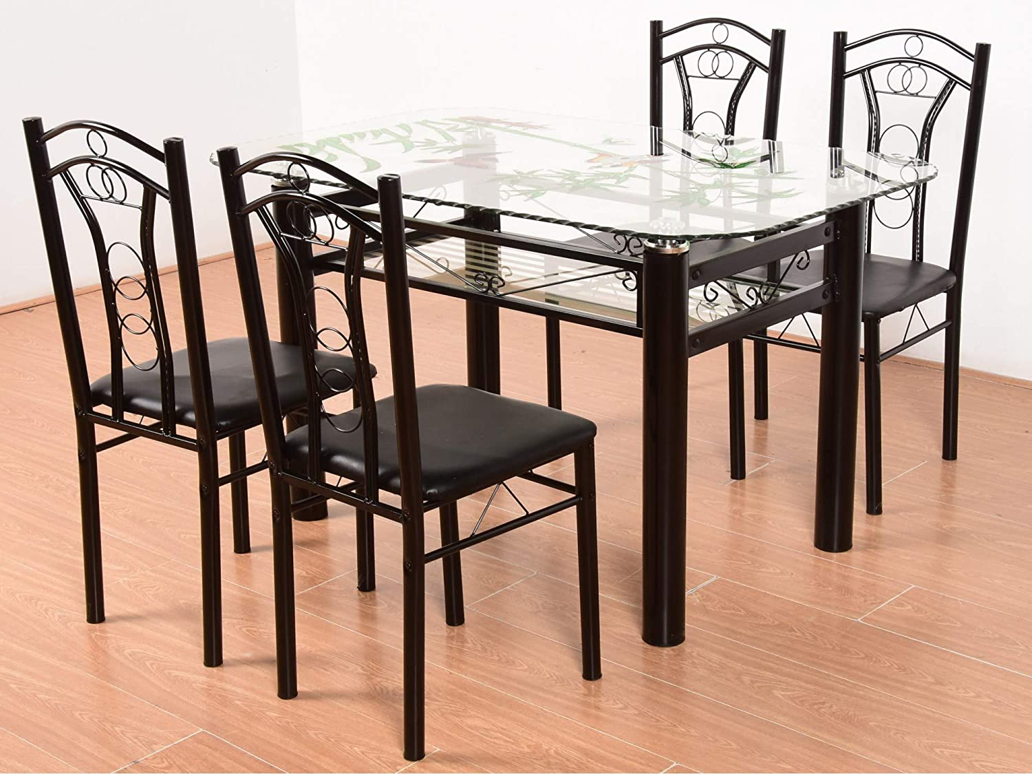 T2a furniture neoplex glass top metal base 4 seater dining table black amazon in home kitchen