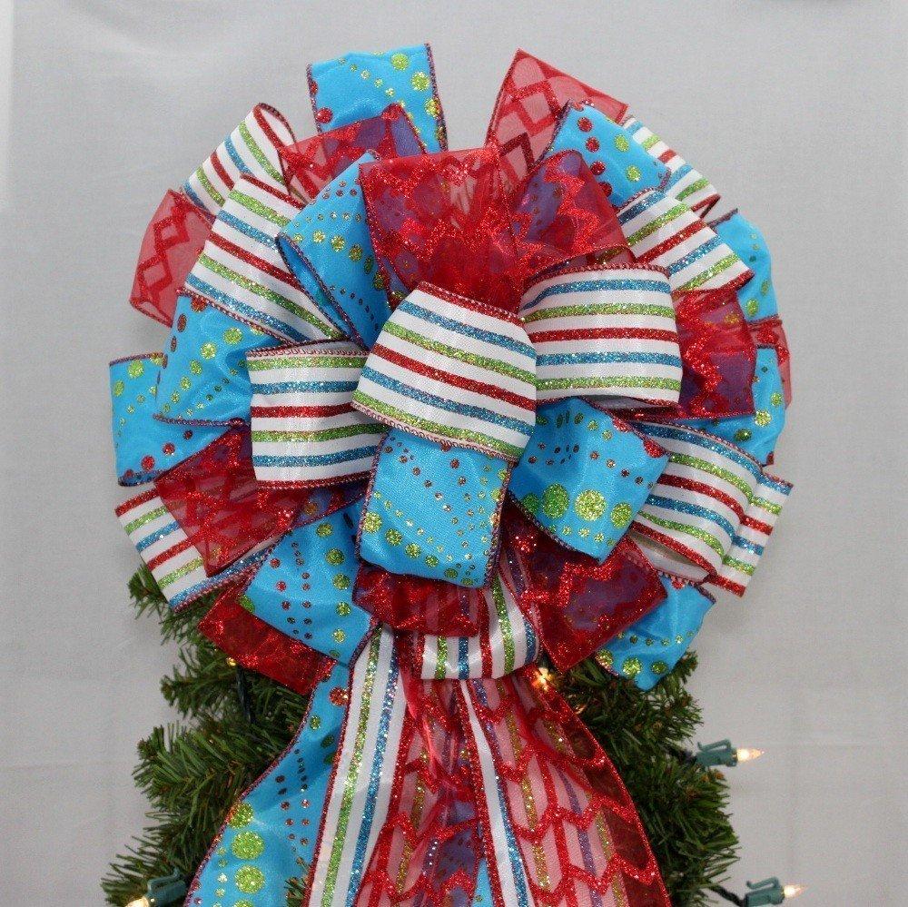 Blue Glitter Dot Stripe Red Christmas Tree Topper Bow - 13