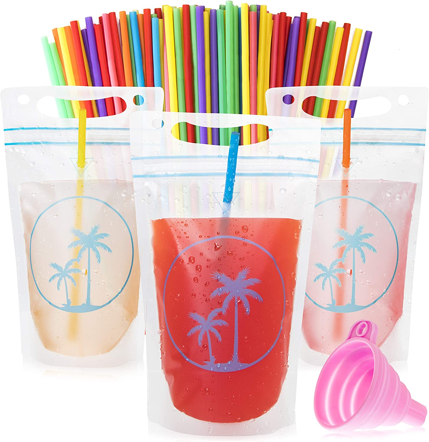 Paradise Pouches Drink Pouches with Straw Hole – 100 Disposable Smoothie Juice Pouches for Adults & Kids No Leak Resealable Double Zipper Clear Drinking Bag- Reusable Plastic BPA-Free