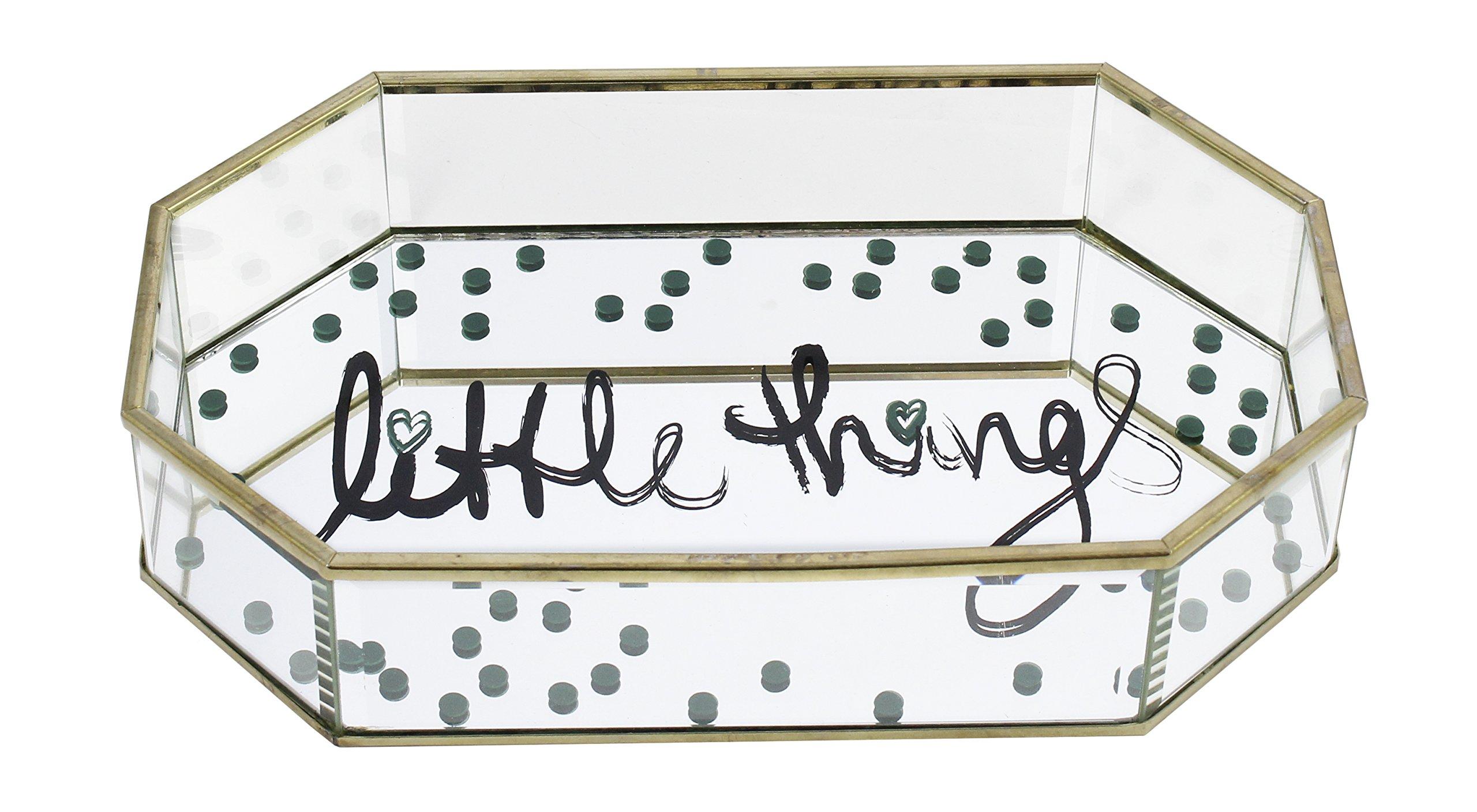 Kenton Grey Glass Jewelry Organizer – Tabletop Metal & Glass Jewelry Display Organizer Ring Tray to Organize Bracelets, Earrings, Rings & Watches, ''Little Things'', Octagon