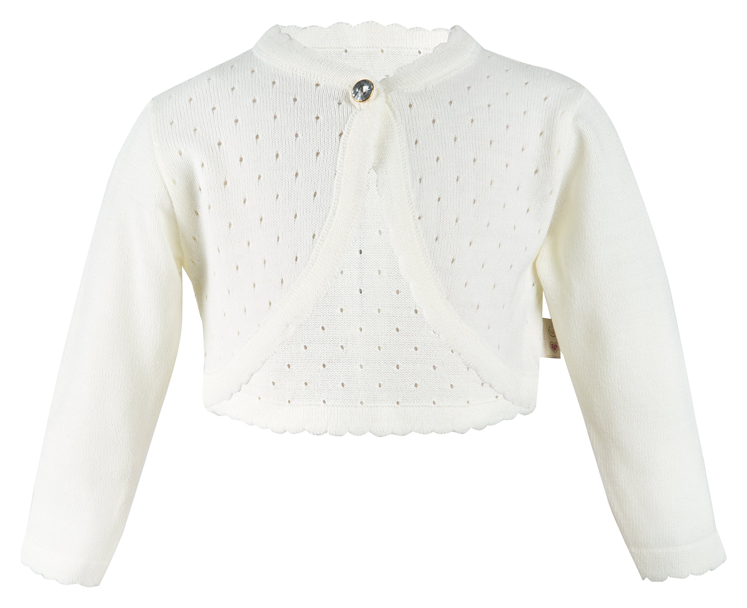 Lilax Little Girls' Knit Long Sleeve One Button Closure Bolero Shrug 9 Cream by Lilax (Image #1)