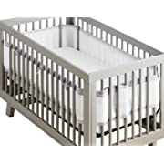 BreathableBaby | Deluxe Breathable Mesh Crib Liner | Doctor Endorsed | Helps Prevent Arms & Legs from Getting Stuck Between Crib Slats | Independently Tested for Safety | White w/ Gray Lavender Linen