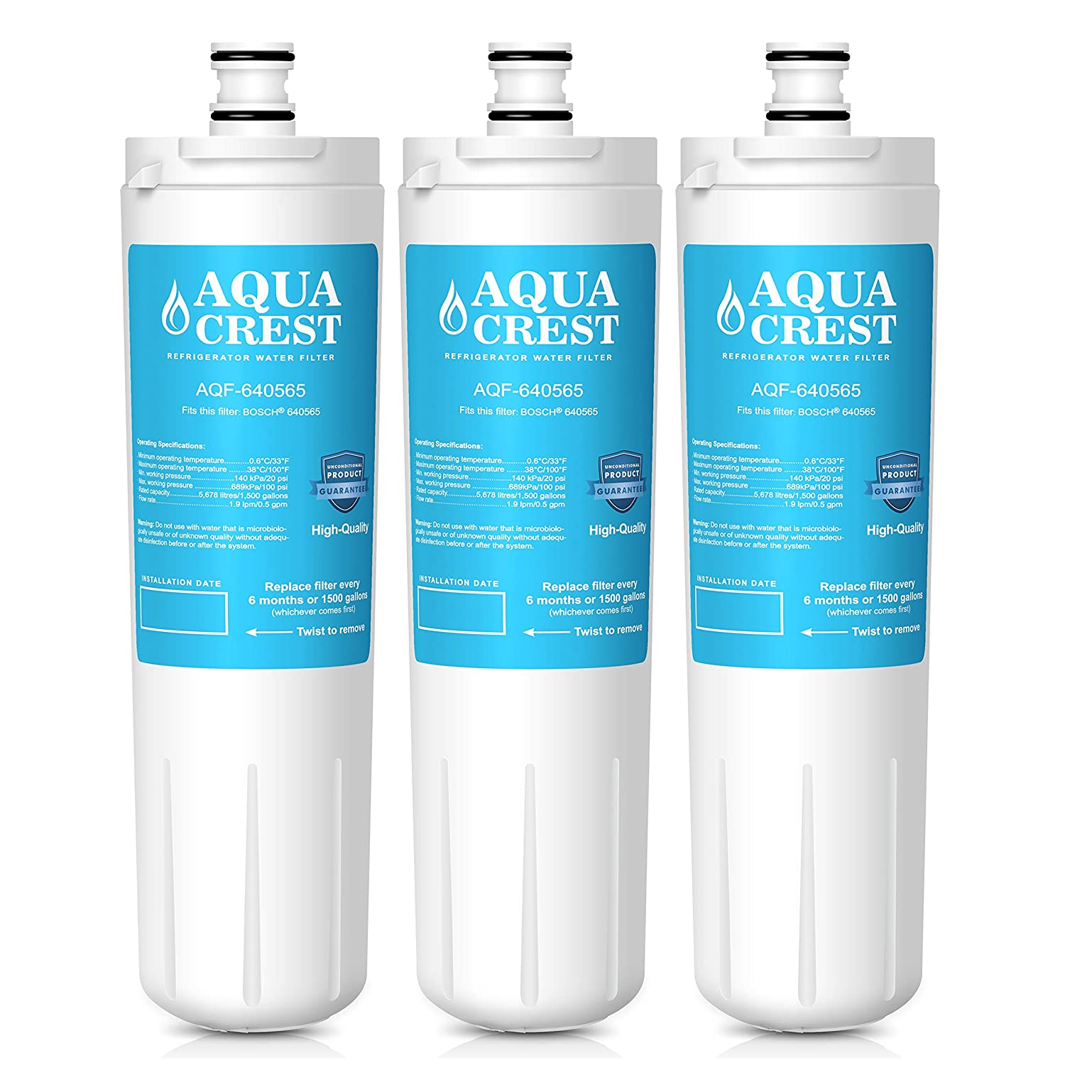 AQUACREST Replacement 640565 Refrigerator Water Filter, Compatible with Bosch 640565 EVOLFLTR10 AP3961137, Whirlpool WHKF-R-PLUS (Pack of 3)