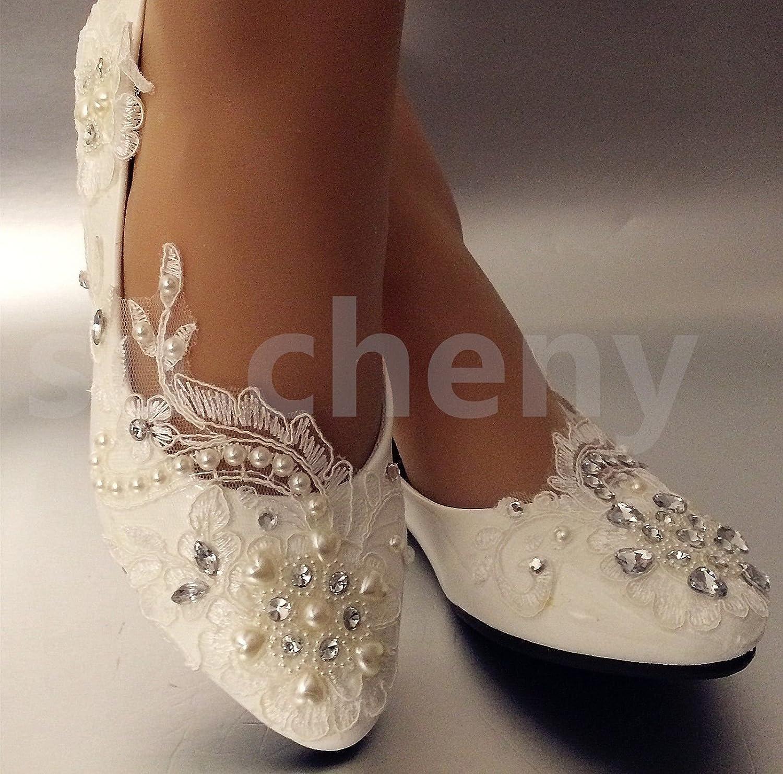 JINGXINSTORE Lace Weiß Crystal Hochzeit Schuhe Braut Low High Heel Pump Größe 5-12 B07DCCB7Q6 Tanzschuhe Sport