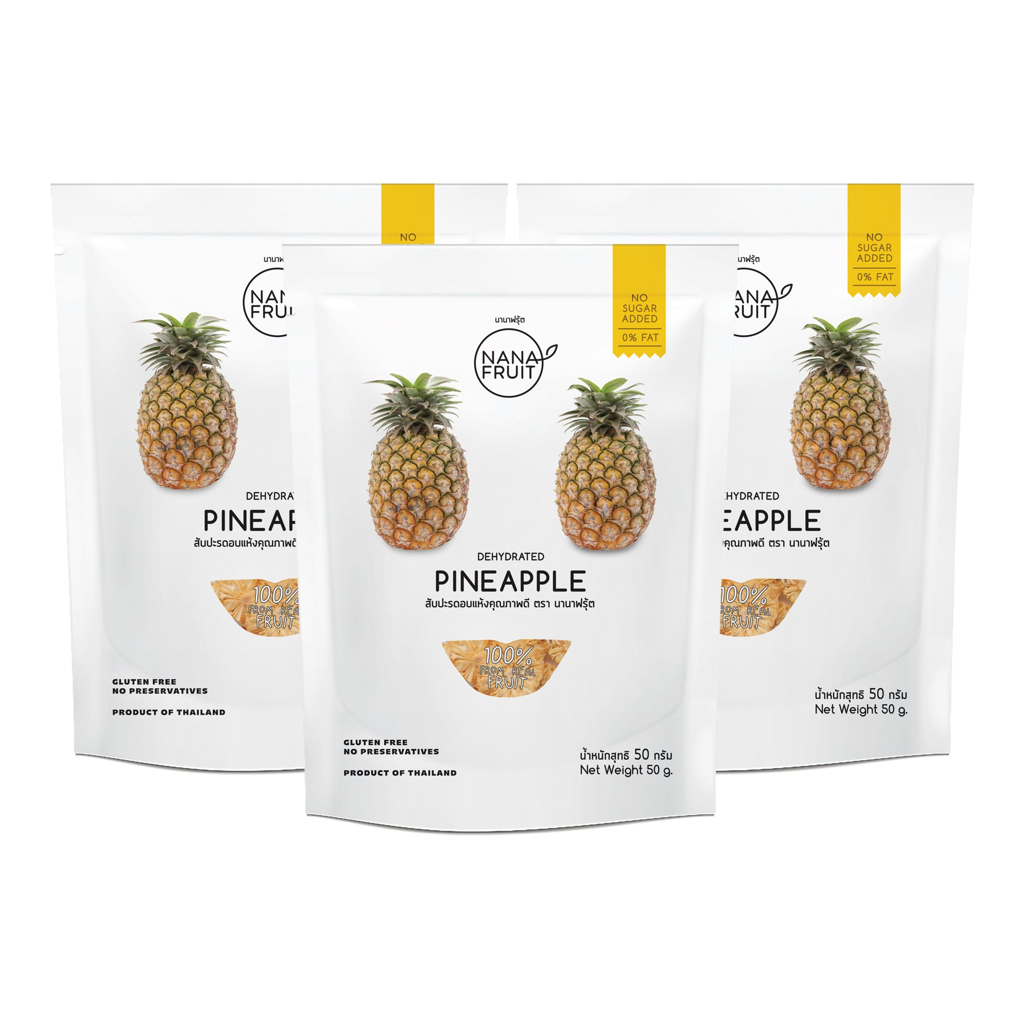 Nana Fruits Dried Pineapple Pack 50g. (Case of 3 Packages)