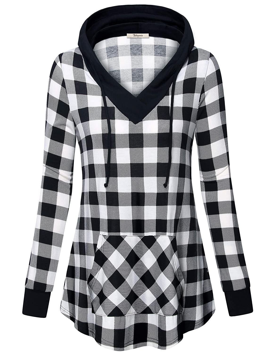 8e4922637f1bed 95% Polyester 5% Spandex V Neck/Hooded with Drawstring/Kangaroo Pocket/Plaid  Hood,Hem and Cuff/Splicing Design Note:High elastic knit lightweight fabric  ...