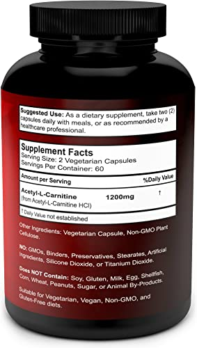 Acetyl L-Carnitine Capsules 1200mg Per Serving – L Carnitine Supplement 120 Vegetarian Capsules