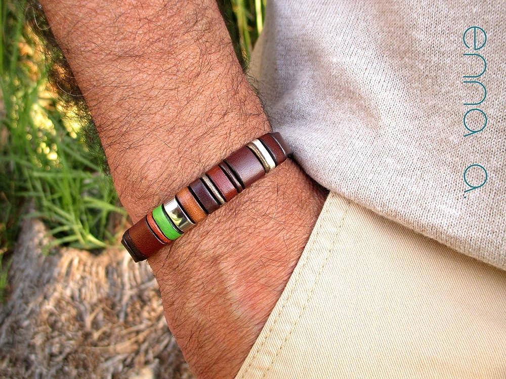 Pulsera de cuero marrón, Enna Clasic 24, pulseras hombre, regalo para hombre, regalo cumpleaños, accesorios de piel ...